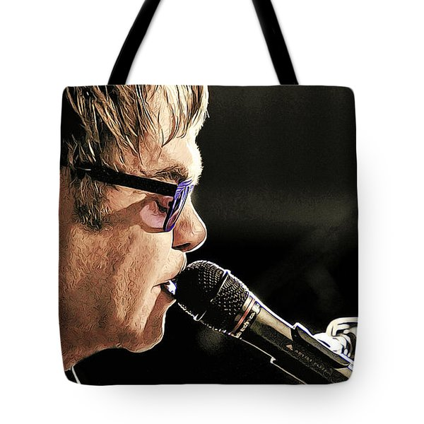 Elton John At The Mic Tote Bag