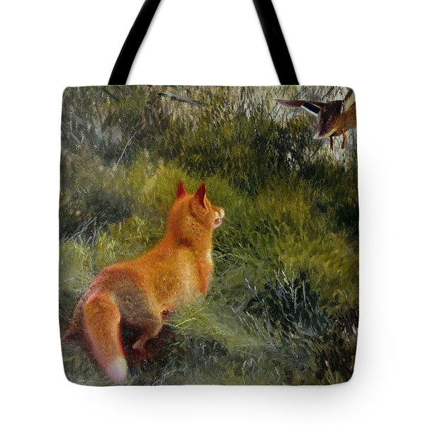 Eluding The Fox Tote Bag by Bruno Andreas Liljefors