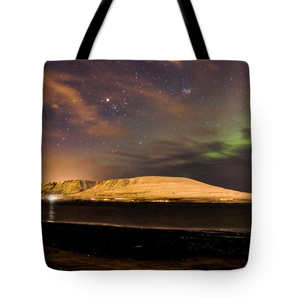Elv Or Troll And Viking With A Sword In The Northern Light Tote Bag