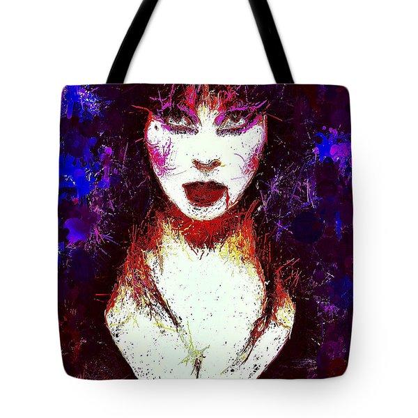 Tote Bag featuring the mixed media Elvira Mistress Of The Dark by Al Matra