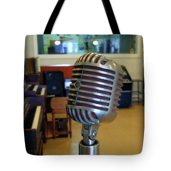 Tote Bag featuring the photograph Elvis Presley Microphone by Mark Czerniec