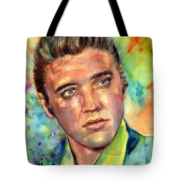 Elvis Presley Watercolor Tote Bag