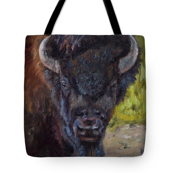 Elvis The Bison Tote Bag by Lori Brackett