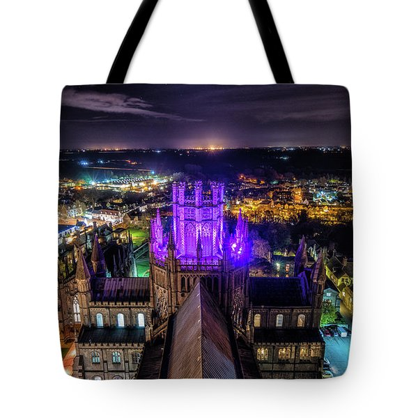 Tote Bag featuring the photograph Ely Cathedral In Purple by James Billings