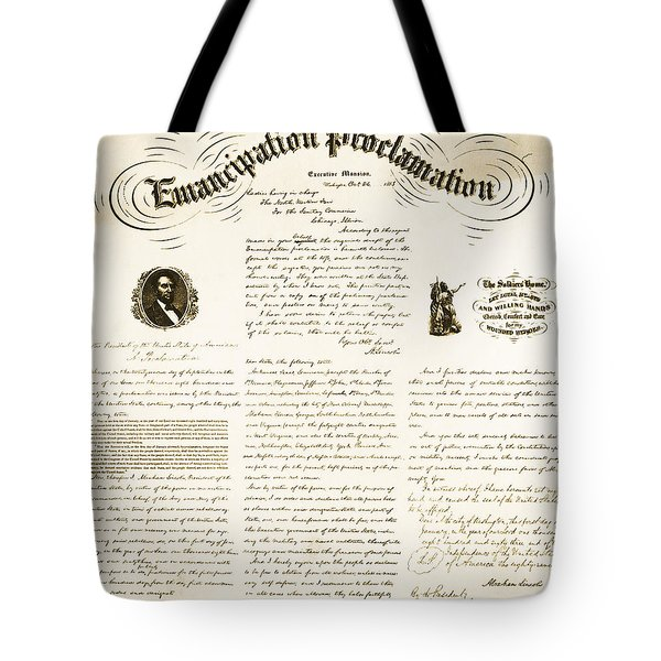 Emancipation Proclamation Tote Bag by Photo Researchers