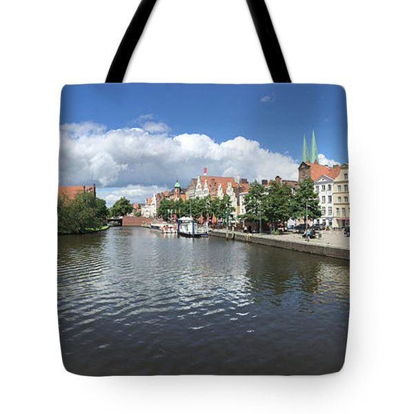 Embankment Of Trave In Luebeck Tote Bag