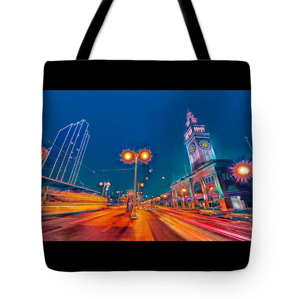 Tote Bag featuring the photograph Embarcadero Lights by Steve Siri