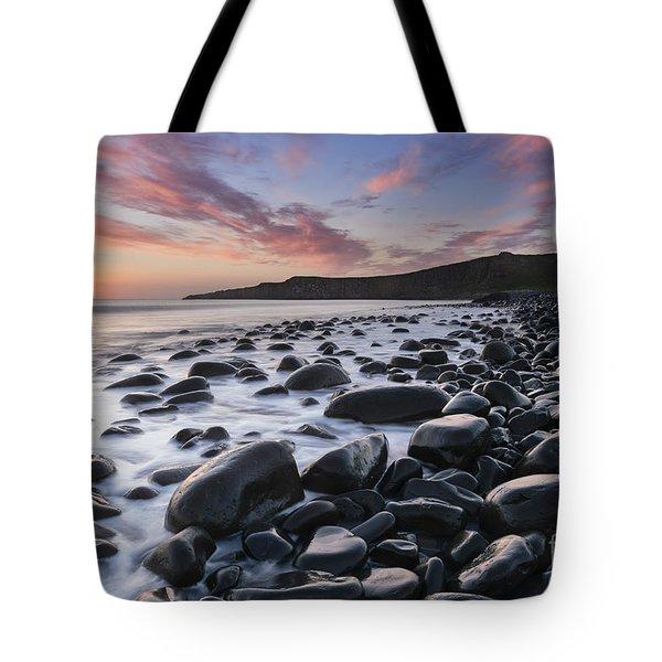 Embleton Bay And Dunstanburgh Castle At Dawn Tote Bag