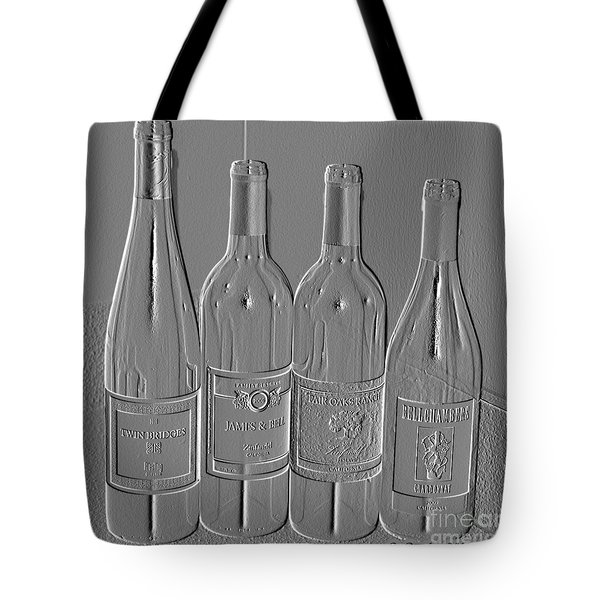 Tote Bag featuring the photograph Embossed Wine Bottles by Donna Bentley