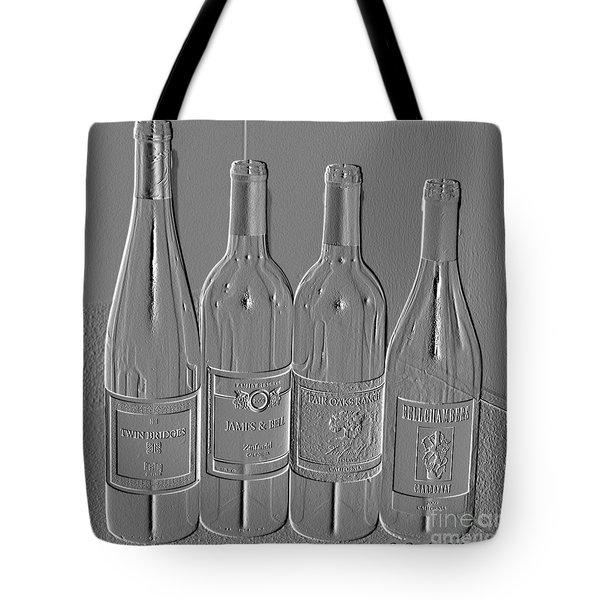 Embossed Wine Bottles Tote Bag by Donna Bentley