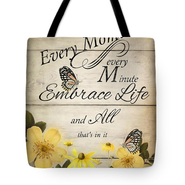 Tote Bag featuring the digital art Embrace Life by Robin-Lee Vieira