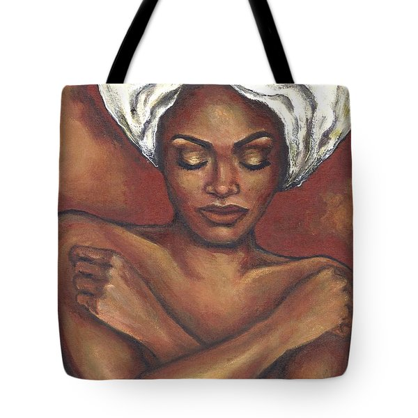 Tote Bag featuring the painting Embrace Yourself by Alga Washington