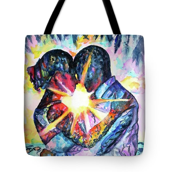 Embracing Couple In Love Tote Bag