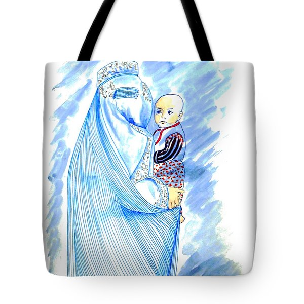 Embroidered Blue Lady-cage -- Woman In Burka Tote Bag