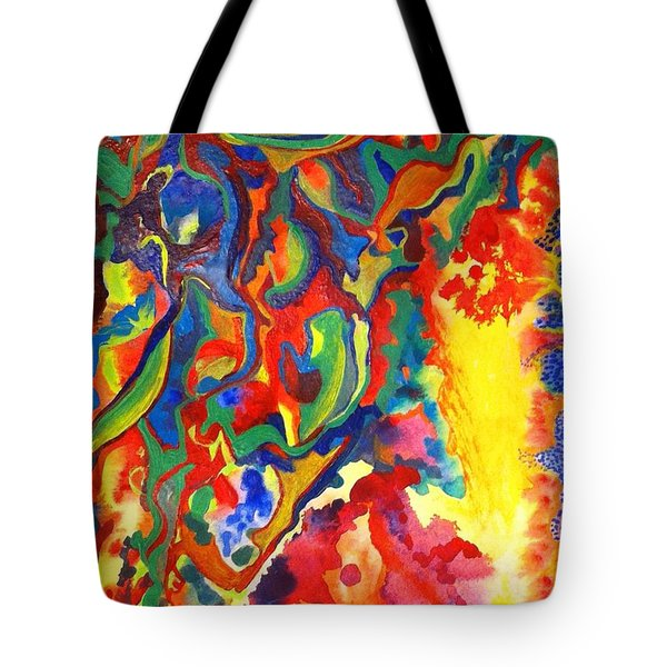 Tote Bag featuring the painting Embroiled by Polly Castor