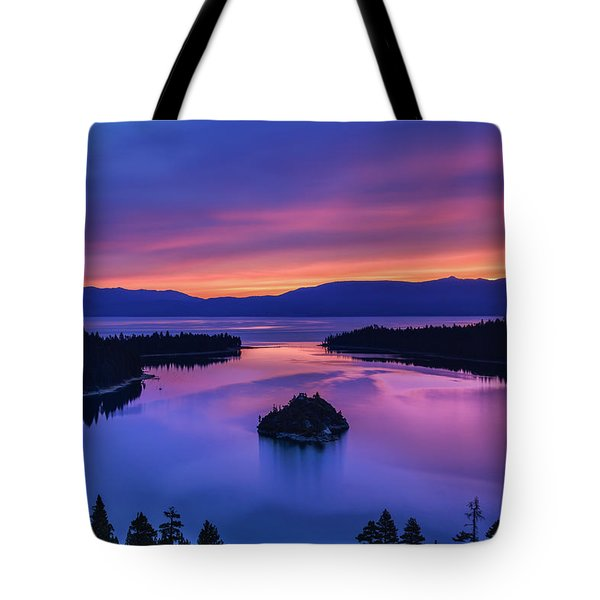 Emerald Bay Clouds At Sunrise Tote Bag by Marc Crumpler