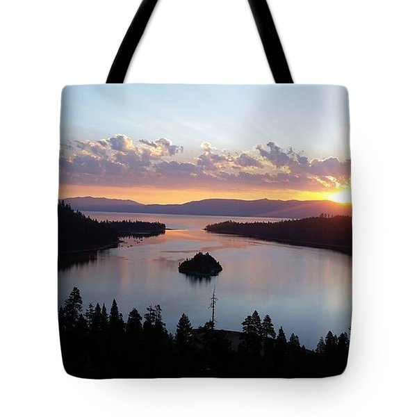Emerald Bay Sunrise Tote Bag by Carol Duarte