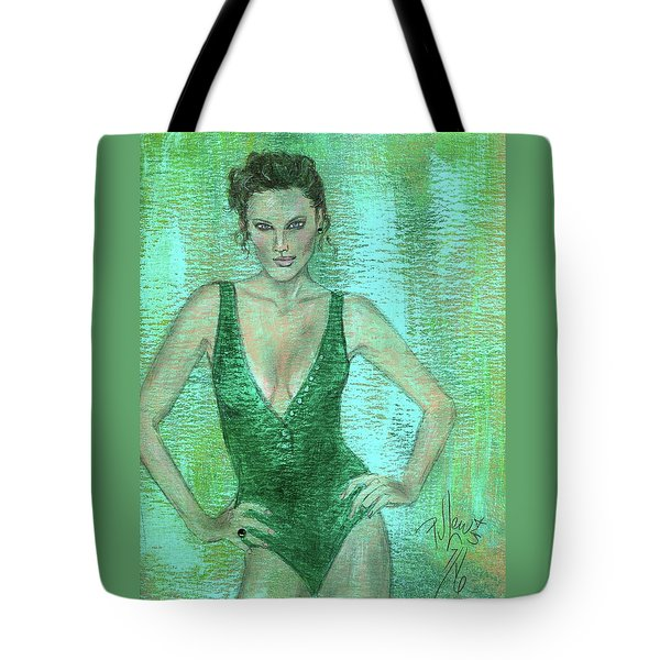Tote Bag featuring the painting Emerald Greem by P J Lewis