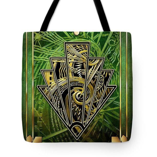 Tote Bag featuring the digital art Emerald Green And Gold by Chuck Staley