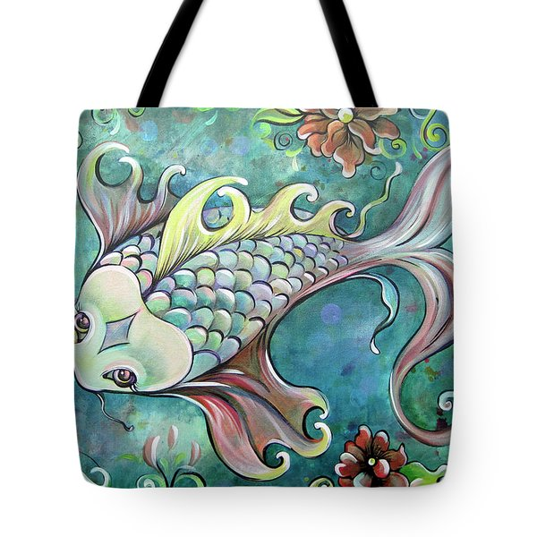 Emerald Koi Tote Bag by Shadia Derbyshire