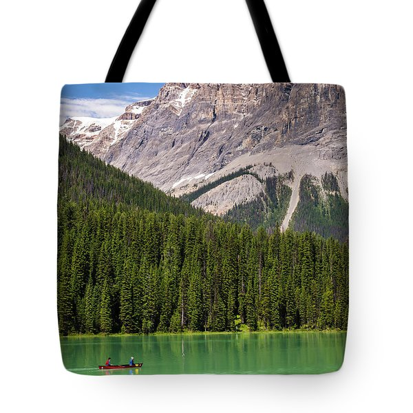 Tote Bag featuring the photograph Emerald Lake Canoe by Mark Mille