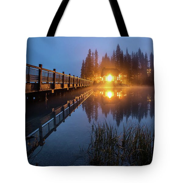 Tote Bag featuring the photograph Emerald Lake Lodge In The Twilight Fog by Pierre Leclerc Photography