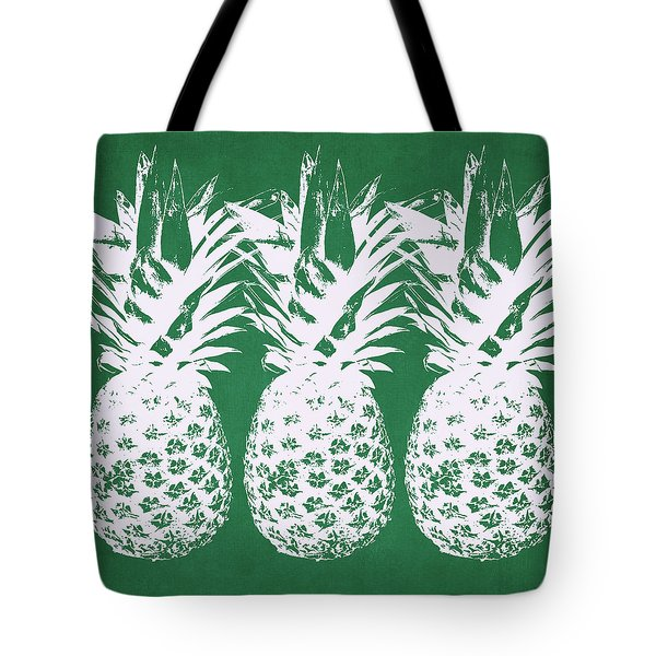 Tote Bag featuring the mixed media Emerald Pineapples- Art By Linda Woods by Linda Woods