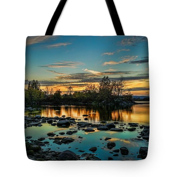 Emerald Sky Reflection Tote Bag