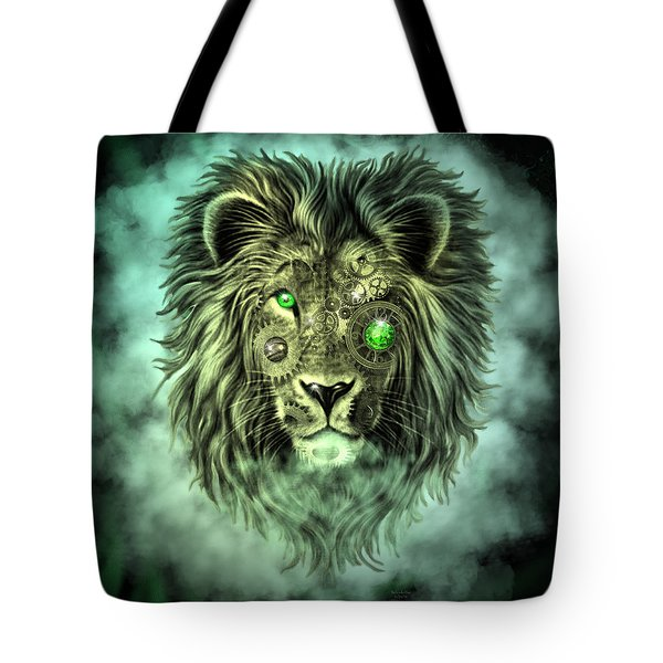 Emerald Steampunk Lion King Tote Bag