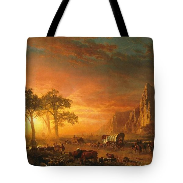 Tote Bag featuring the photograph Emigrants Crossing The Plains - 1867 by Albert Bierstadt