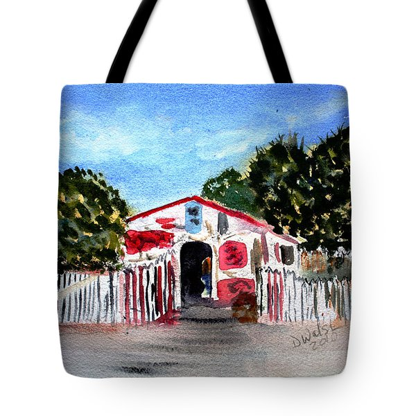 Tote Bag featuring the painting Emiles Road Side Grocer by Donna Walsh