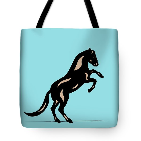 Emma II - Pop Art Horse - Black, Hazelnut, Island Paradise Blue Tote Bag