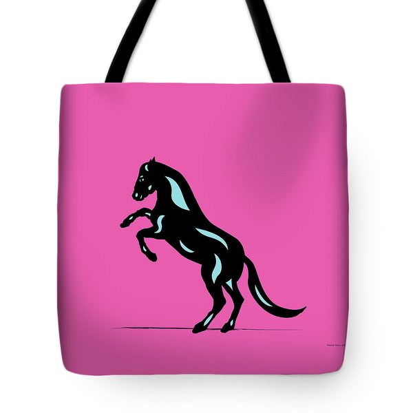 Emma - Pop Art Horse - Black, Island Paradise Blue, Pink Tote Bag