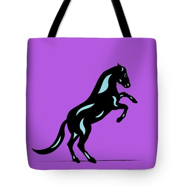 Emma II - Pop Art Horse - Black, Island Paradise Blue, Purple Tote Bag