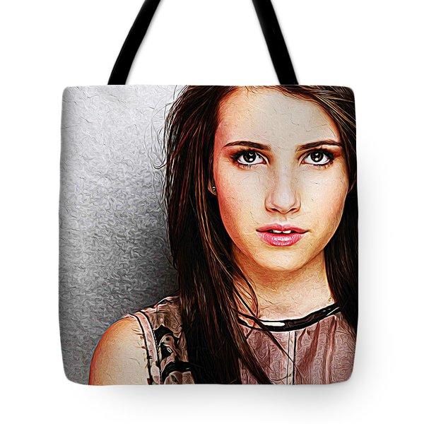 Emma Roberts Tote Bag by Iguanna Espinosa
