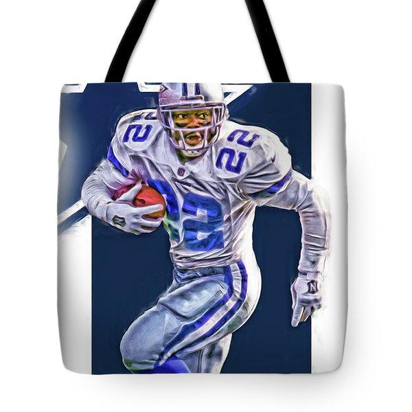 Emmitt Smith Dallas Cowboys Oil Art Tote Bag