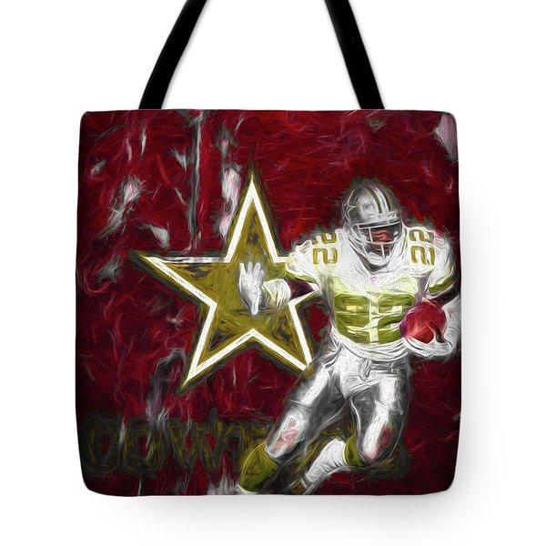 Tote Bag featuring the photograph Emmitt Smith Nfl Dallas Cowboys Gold Digital Painting 22 by David Haskett