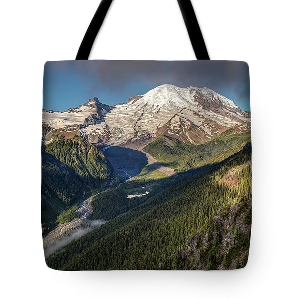 Tote Bag featuring the photograph Emmons Vista Of Mount Rainier by Pierre Leclerc Photography