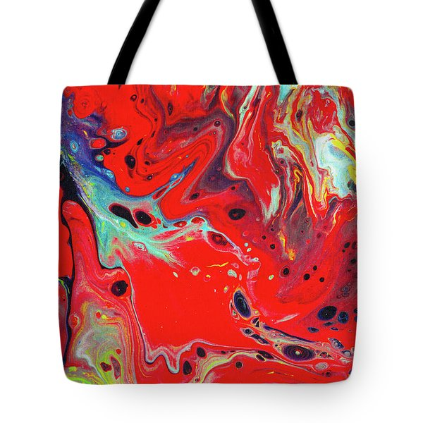 Emotional Soul - Red Abstract Canvas Painting Tote Bag