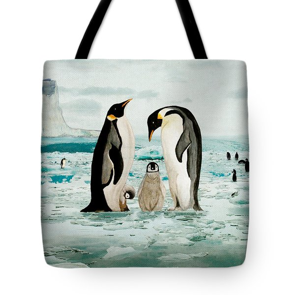 Emperor Penguin Family Tote Bag