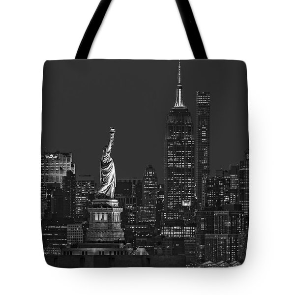 Tote Bag featuring the photograph Empire State And Statue Of Liberty II Bw by Susan Candelario