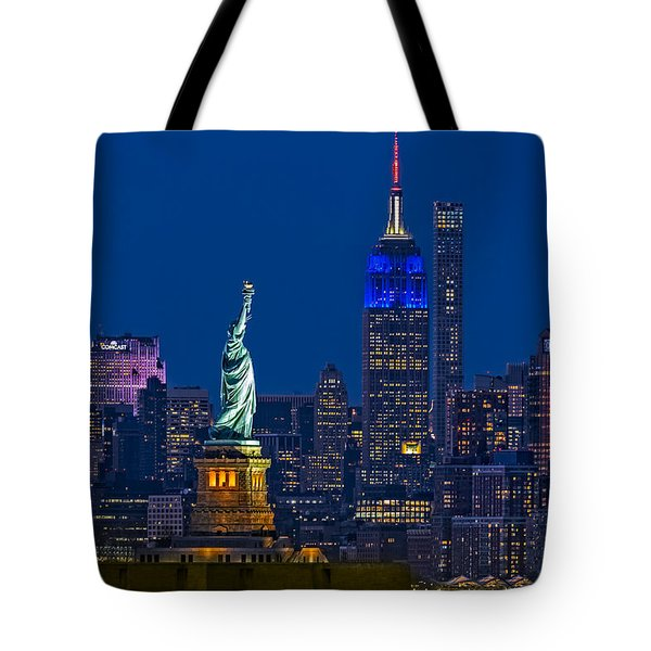 Empire State And Statue Of Liberty II Tote Bag
