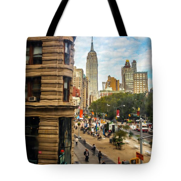 Tote Bag featuring the photograph Empire State Building - Crackled View 3 by Madeline Ellis