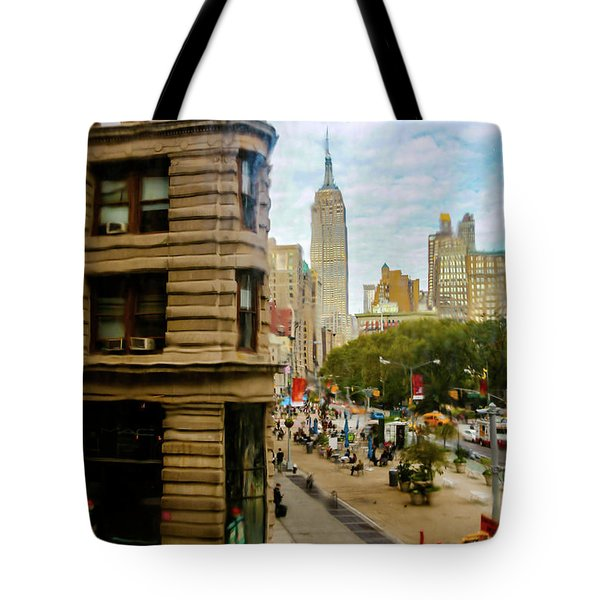 Tote Bag featuring the photograph Empire State Building - Crackled View by Madeline Ellis