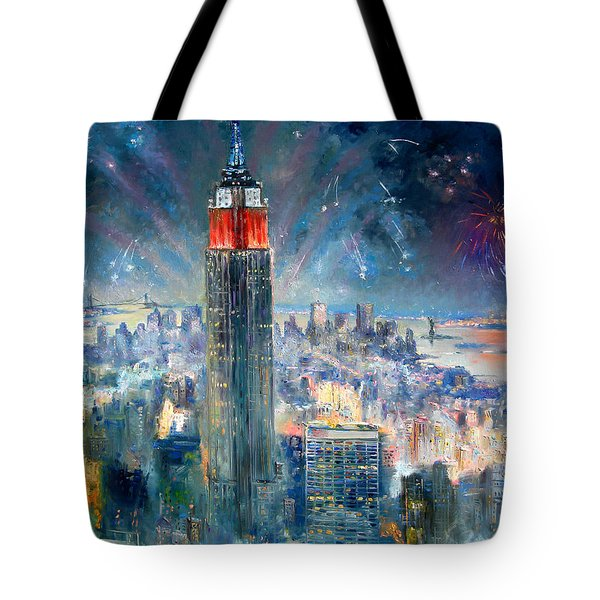 Empire State Building In 4th Of July Tote Bag by Ylli Haruni