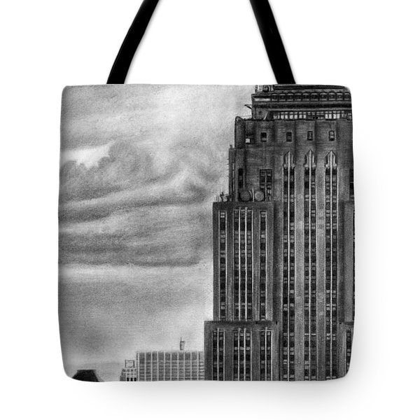 Empire State Building New York Pencil Drawing Tote Bag