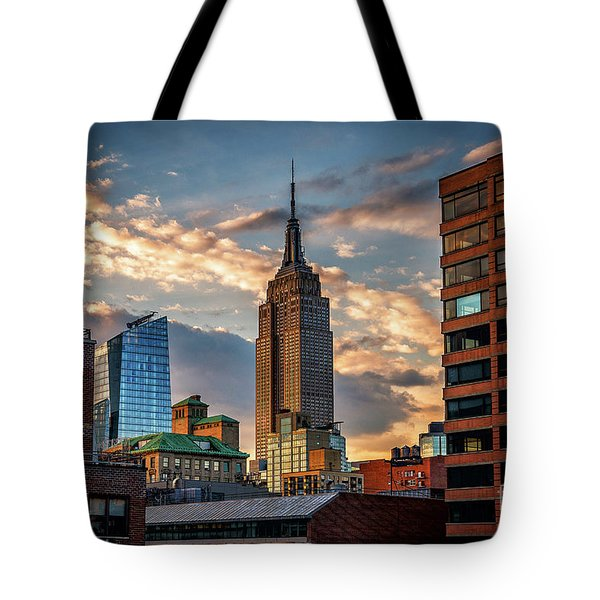 Empire State Building Sunset Rooftop Tote Bag