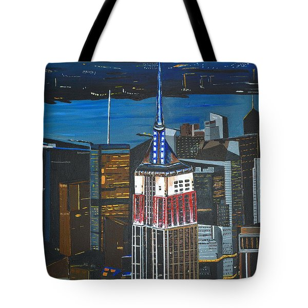 Tote Bag featuring the painting Empire State by Donna Blossom
