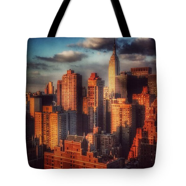 Empire State In Gold Tote Bag by Miriam Danar