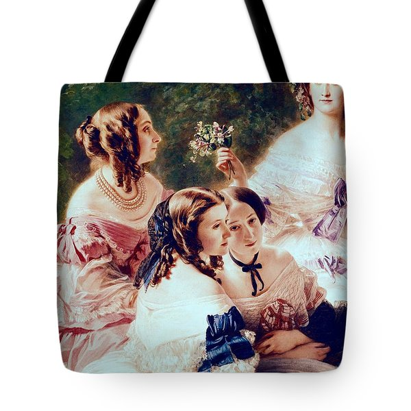 Empress Eugenie And Her Ladies In Waiting Tote Bag by Franz Xaver Winterhalter